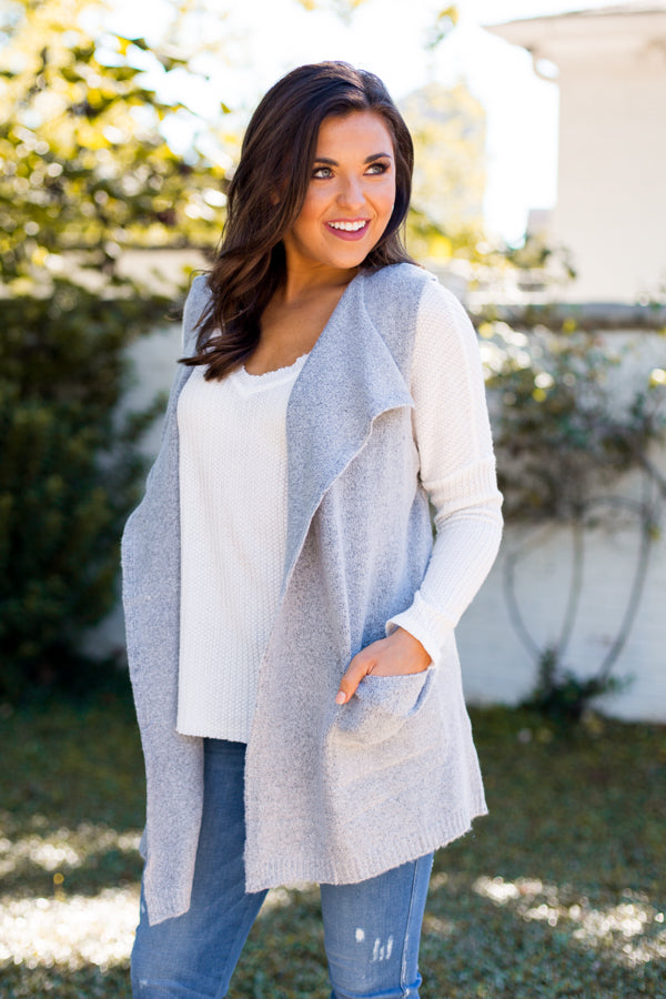 Vest Dressed Cardigan- Grey