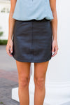 BB Dakota Leather Skirt- Black