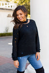 Distressed Choker Sweater- Black