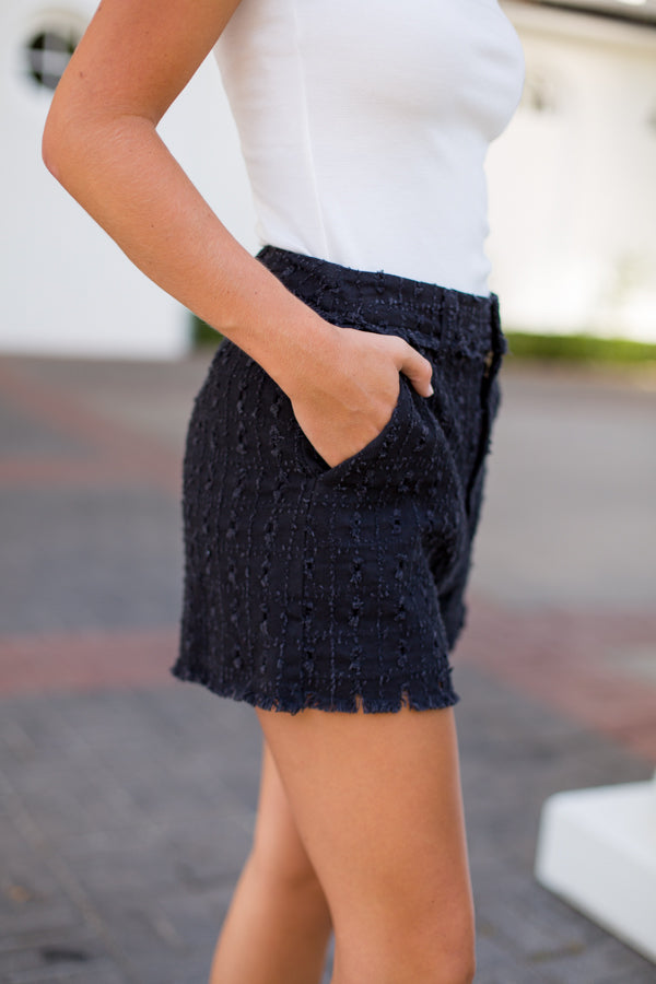 Fun & Frayed Eyelet Shorts- Black
