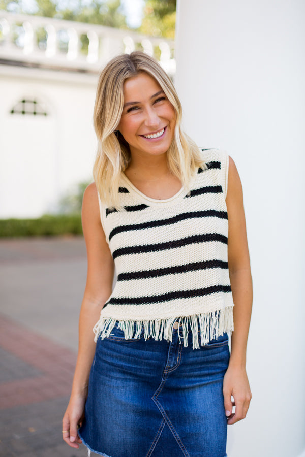 Fringe For You Knit Top- Cream