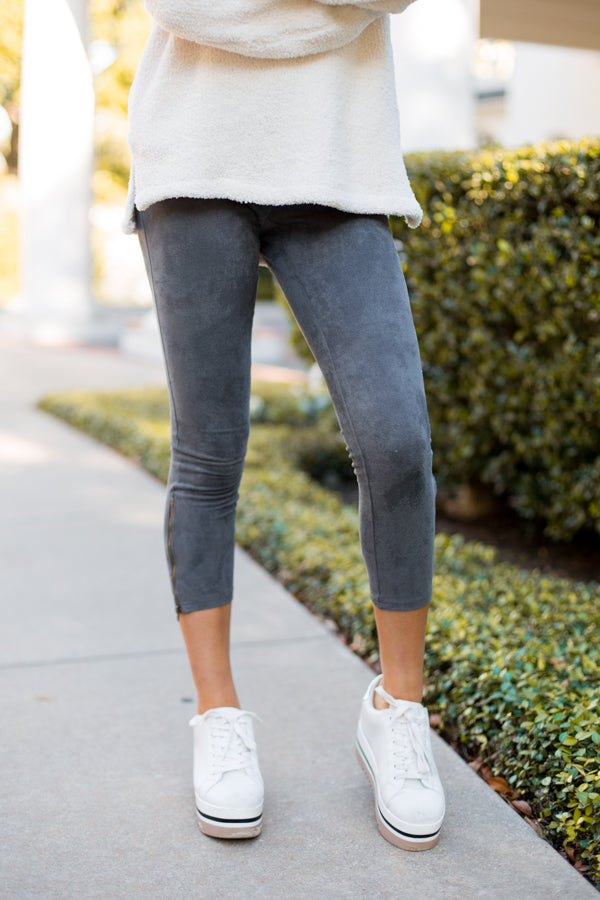 Cozy Cropped Suede Leggings- Charcaol