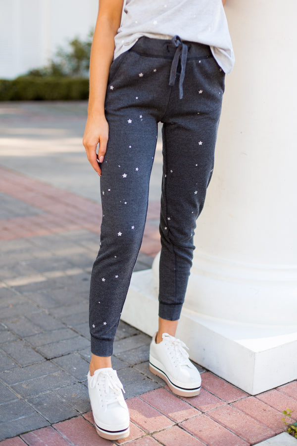 Starry Nights Joggers- Charcoal