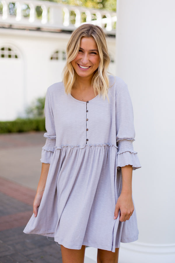 Forever Young Babydoll Dress- Grey