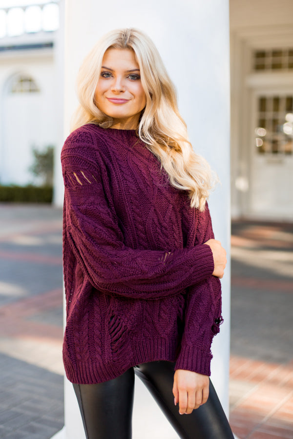 Distressed Cable Knit Sweater- Burgundy