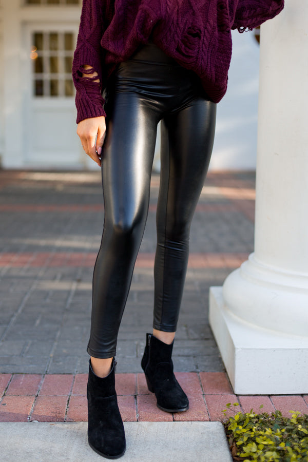 Rockin' Leather Leggings- Black