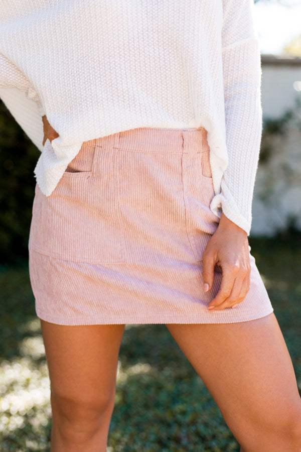 Corduroy Season Skirt- Mauve