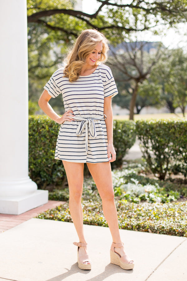 Comfy Casual Romper- Ivory/Navy