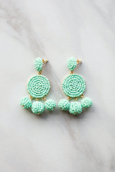 Gumball Beaded Earrings - Mint