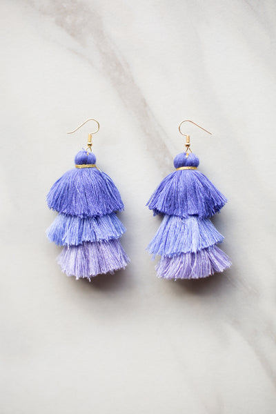Ombré Tassel Earrings - Hydrangea