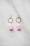 Cierra Tassel Hoop Earrings - Pink