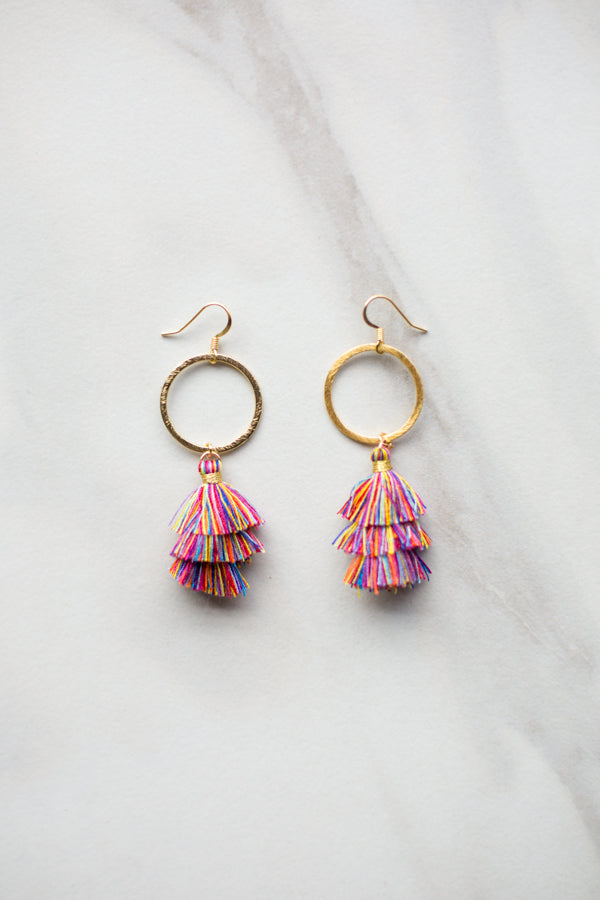Cierra Tassel Hoop Earrings - Rainbow