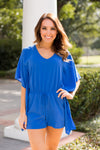 Pool Poncho Romper- Persian Blue