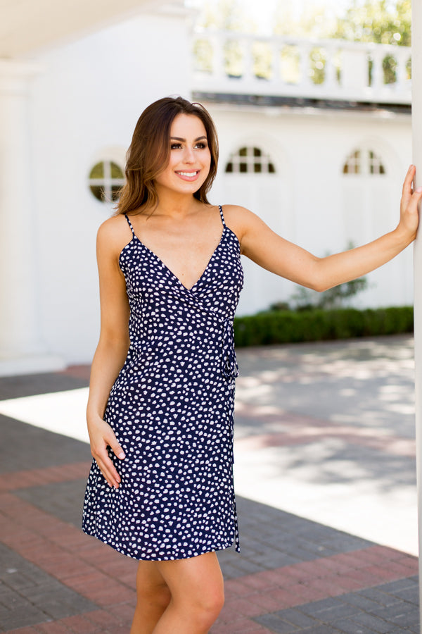 Polka Pattern Wrap Dress- Navy