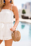 Bungalow Shoulder Strap Bag- Tan & White
