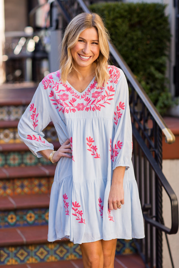 The Madeline Dress - Light Blue