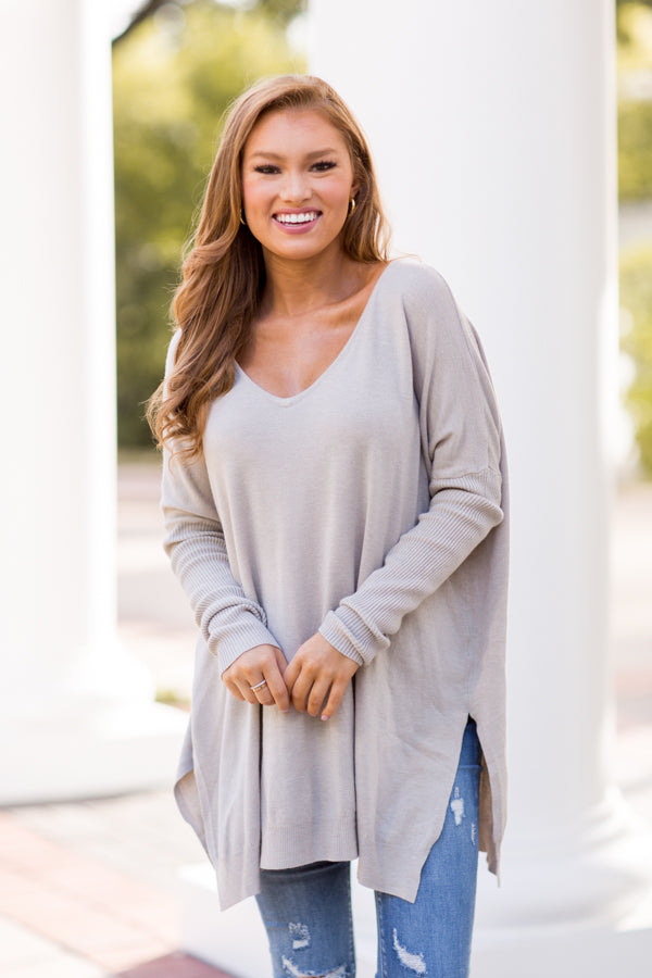 Written In Stone Tunic Sweater - Heather