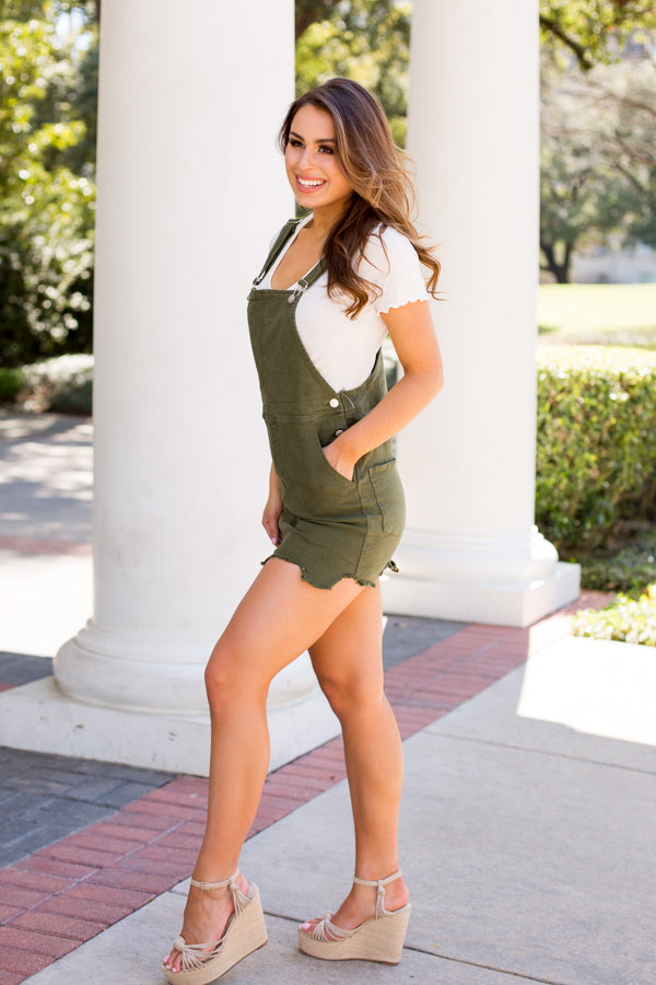 Distressed Days Overall Dress- Olive
