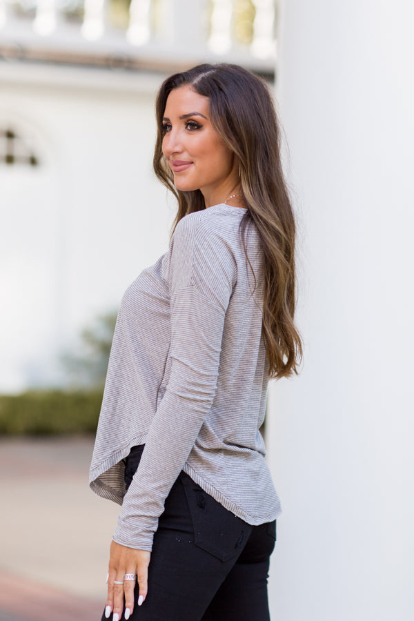 Can't Top This Striped Top - Taupe