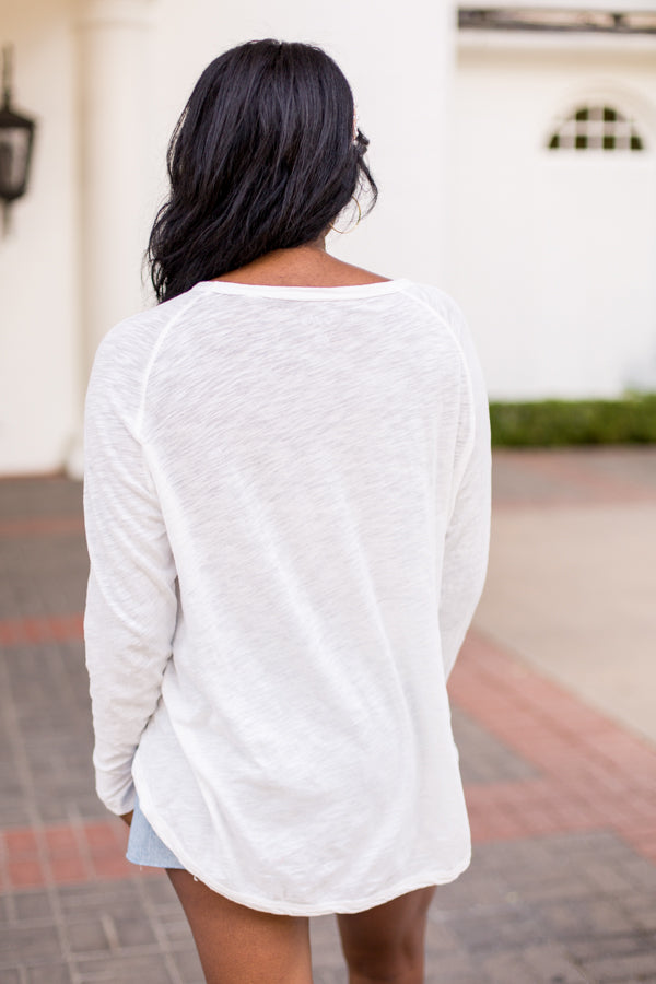 Day To Day Long Sleeve Pocket Tee- White