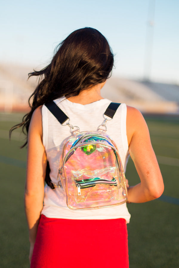 Clear Gameday Backpack- Fluorescent Rose Gold