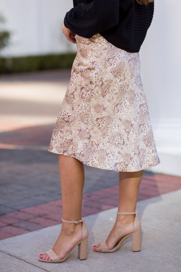 In The Middle Midi Skirt - Snake