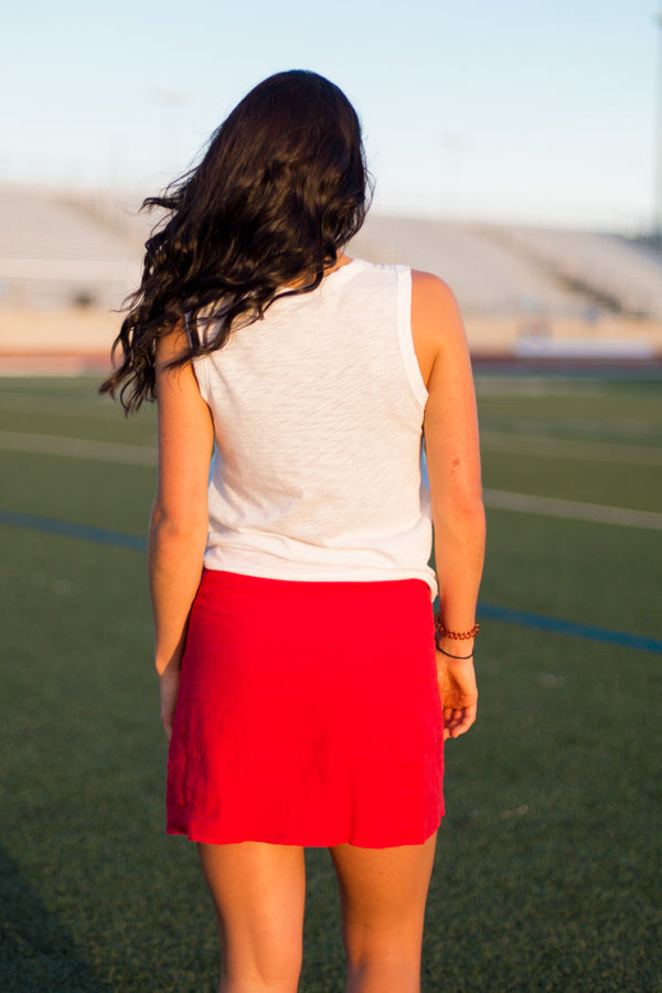 Red Raiders Lace Up Skirt
