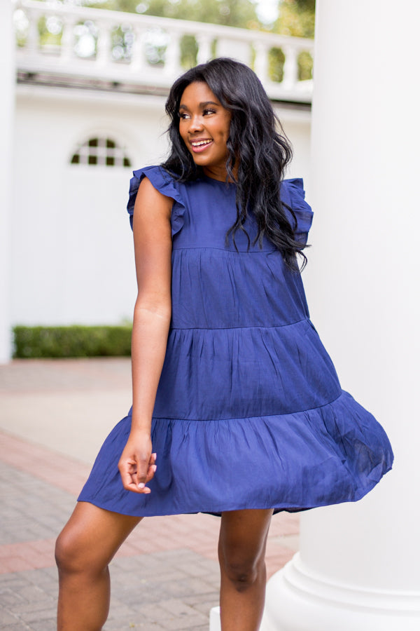 Brighter Days Babydoll Dress- Navy
