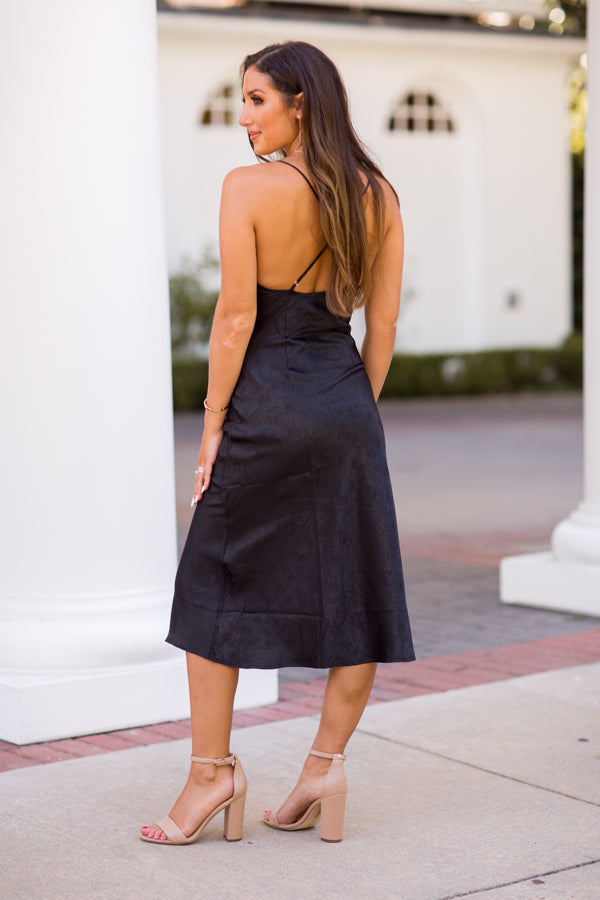 Give 'Em The Slip Dress - Black