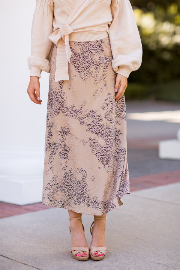 Adventure Is Out There Midi Skirt - Taupe Leopard