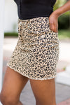 So Fierce Denim Skirt- Leopard