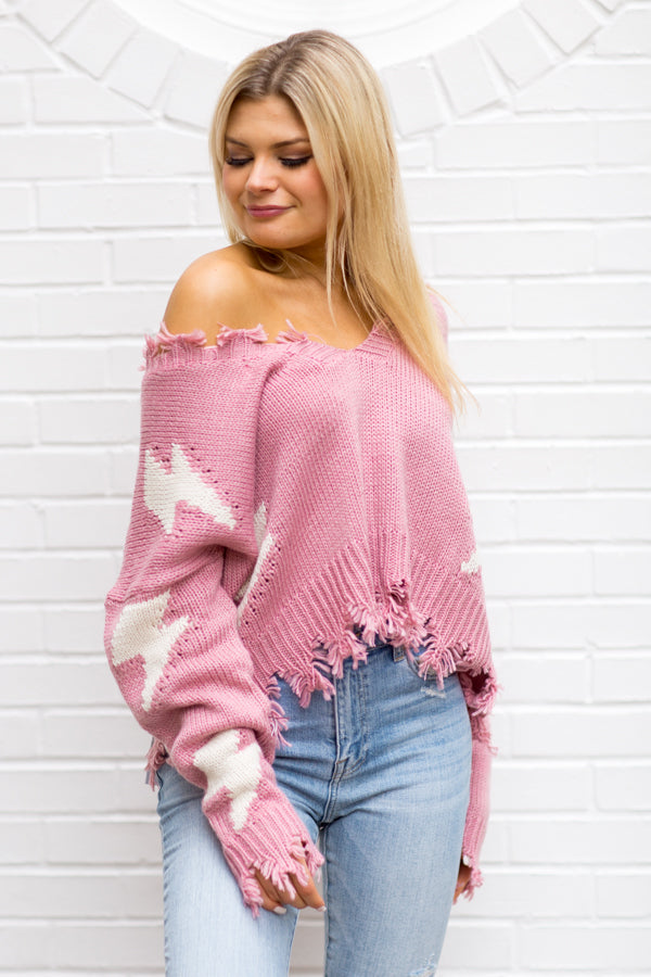 Thunderstruck Distressed Sweater - Pink