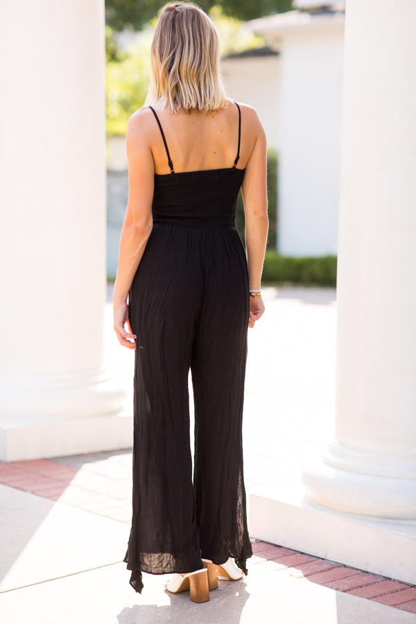 Right This Way Jumpsuit- Black