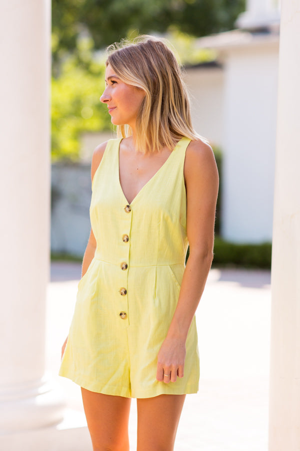 Hello Highlighter Romper- Neon Yellow