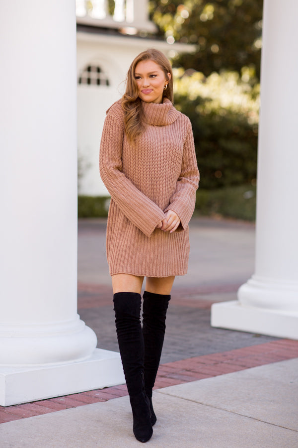 BB Dakota Couldn't Be Sweater Dress - Camel