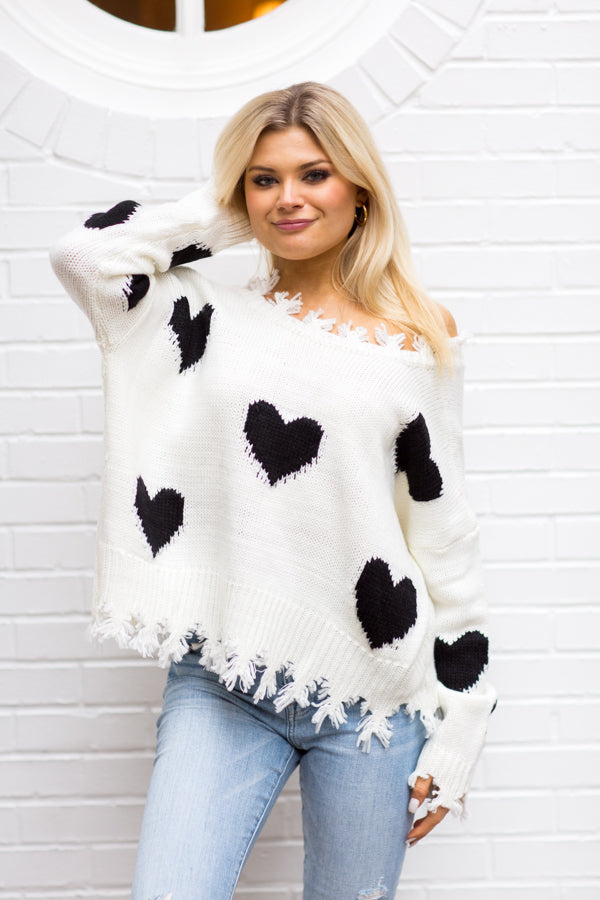 All Of My Heart Distressed Sweater - White