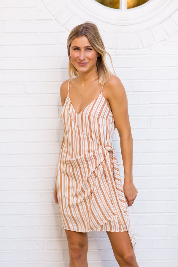 Wrap Right Striped Dress- Tan