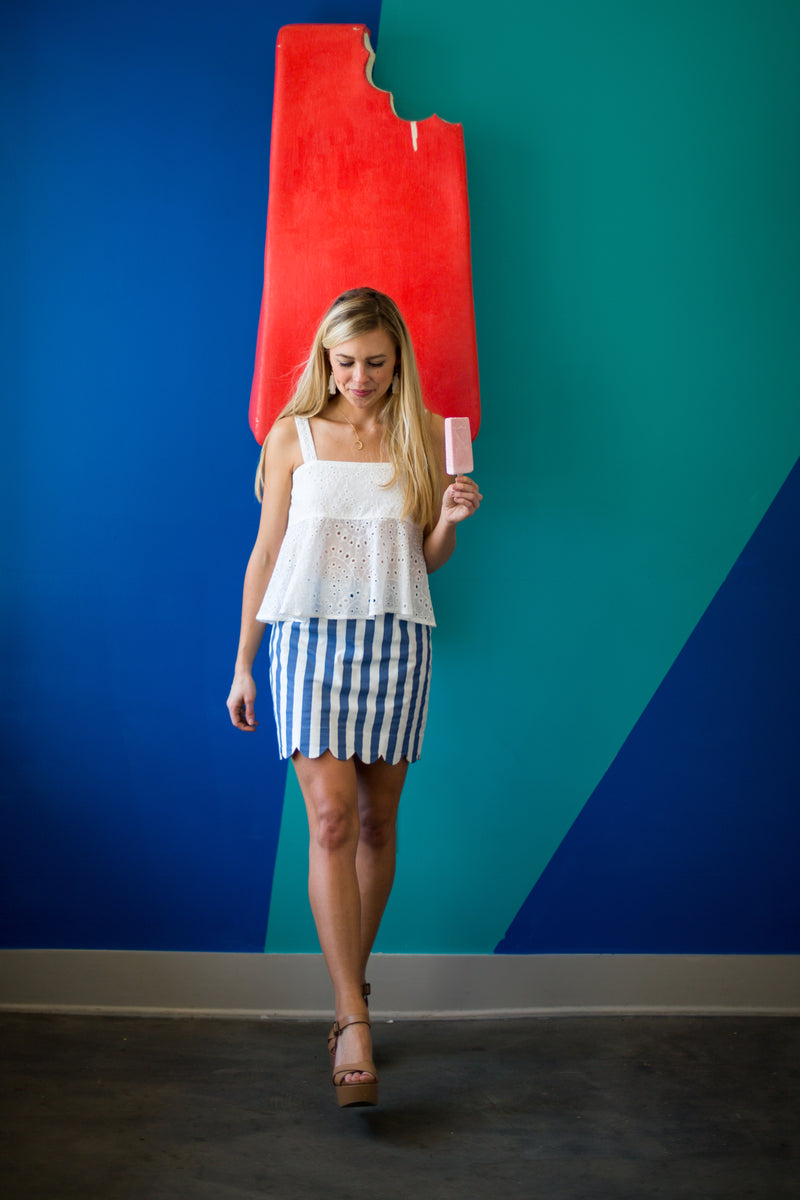 Lady Liberty Scalloped Stripe Skirt