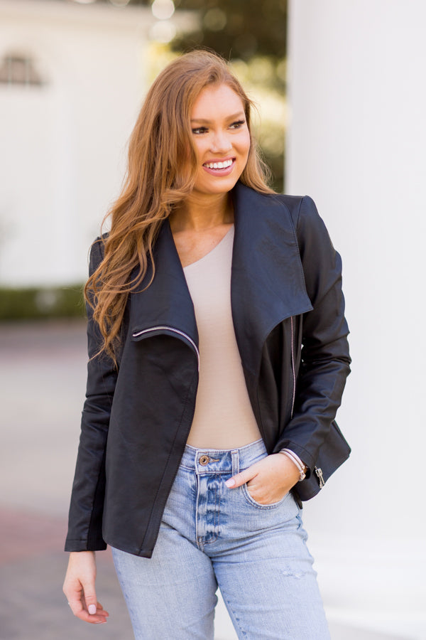 BB Dakota Up To Speed Vegan Leather Jacket - Black