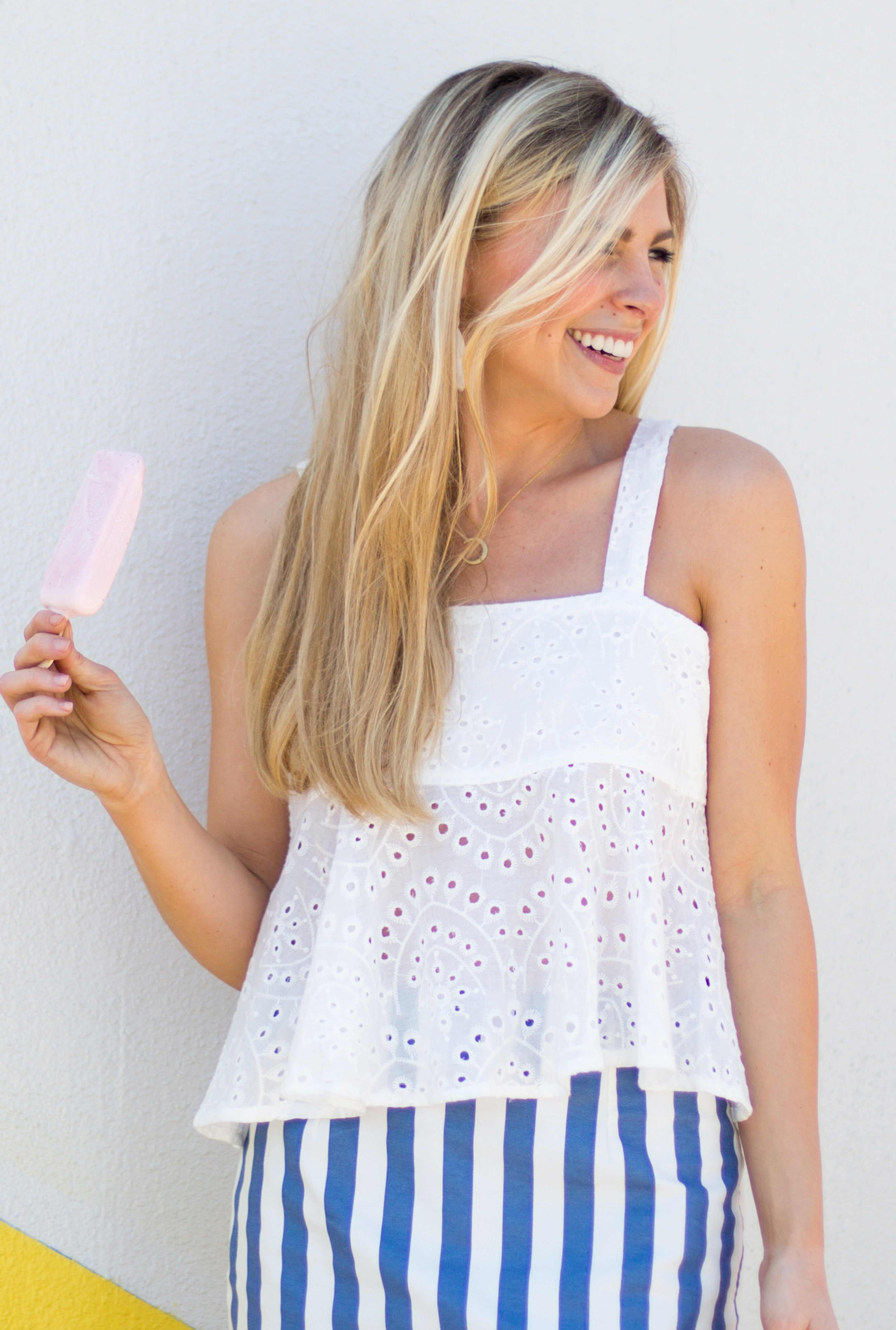 Oh So Darling! Eyelet Open Back Top