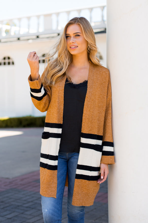Varsity Stripe Cardigan- Tan