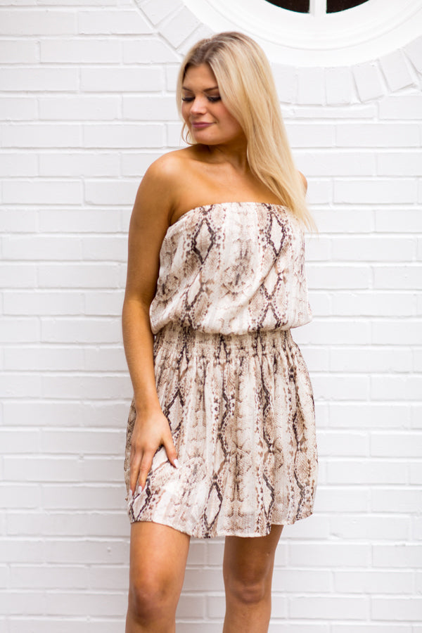 All Coiled Up Dress - Brown Snake