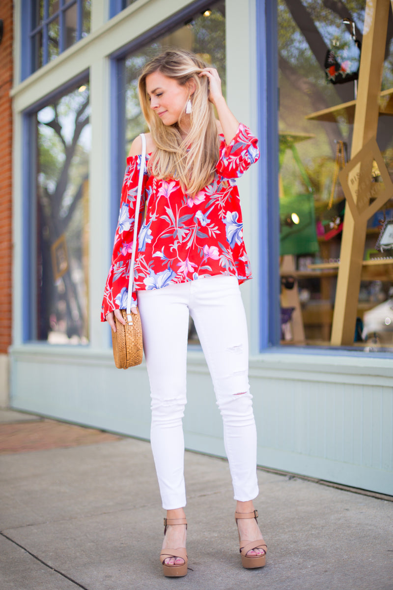 Rockin' In Red Off The Shoulder Floral Top