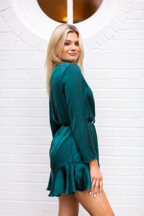 On The Guest List Dress - Malachite Green
