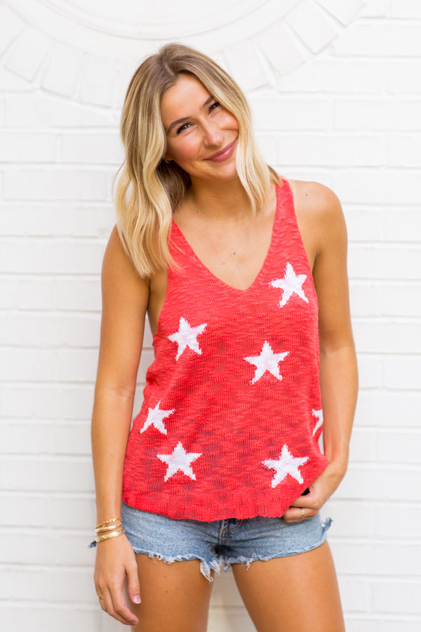 Stars The Limit Tank- Red Coral