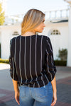 Striped Surplice Top- Black