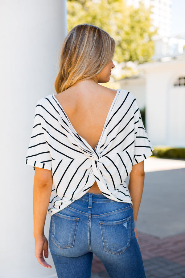 Knotical Stripes Top- Ivory
