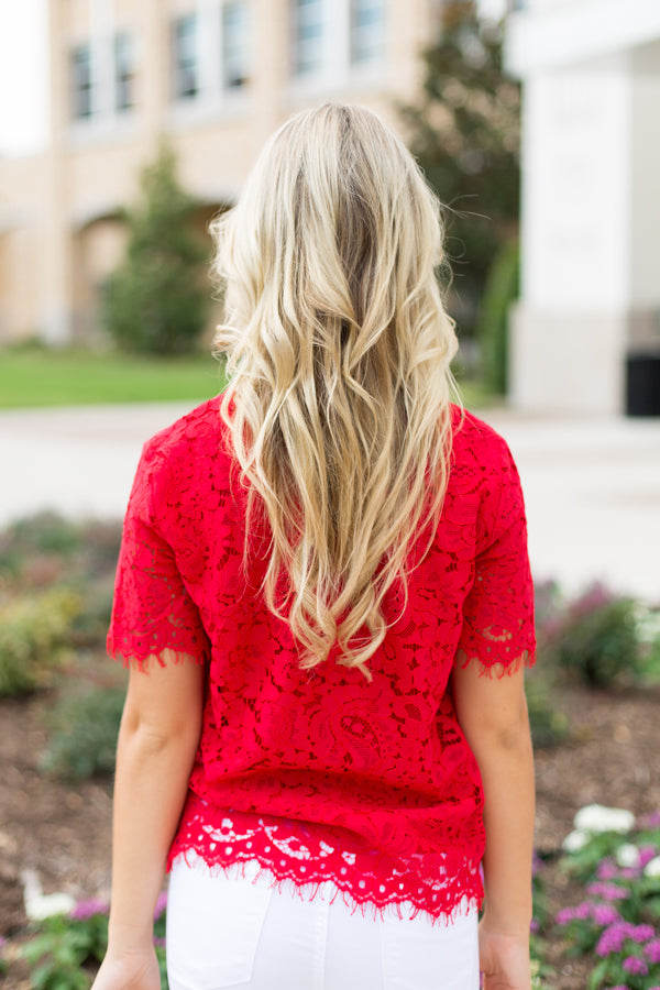Pony Up Lace Top- Red