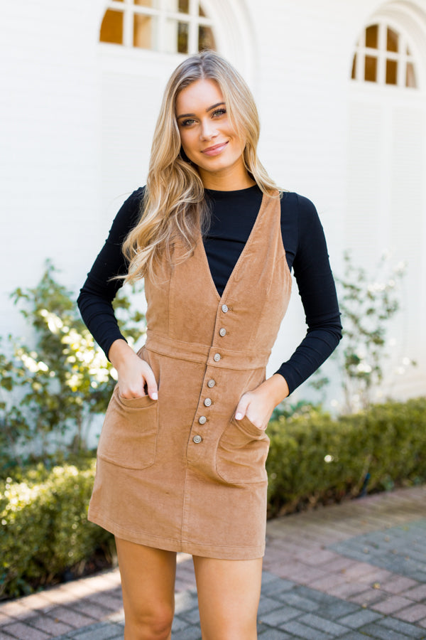 Mayflower Corduroy Overall Dress- Camel