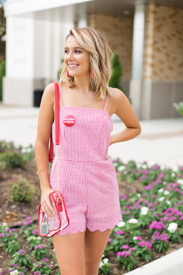 Get It In Gingham Romper- Red